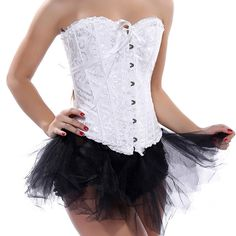 Grebrafan Lingerie Satin Lace Trim Corset + Black Tutu Mini Skirt US(20-22) 6XL. Corsets run smaller. Please choose the upper size if you are not quite sure. Excellent for waist training,Party/wedding/show/clubwear corset skirt. Fully adjustable ribbon lacing in the back, adjust to fit your waist. Embroidered Pattern Lace Trim Elegant Corset Strapless Wedding Dress Corset Bustiers. Our corsets are perfect for clubbing, intimate or naughty occasions. Jeans, skirt, or any other type of...