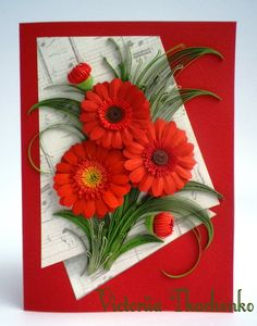 Anniversary quilling Card - Love quilling card - Birthday quilling card - Charming red gerbera flowers