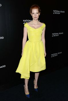 Jessica Chastain In Yellow Cocktail Dress at National Board of Review Awards 2014 – Red Carpet   OK! Magazine