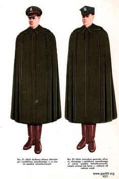 1972 Polish People's Army officers and generals' service and field uniform with rain cloak.