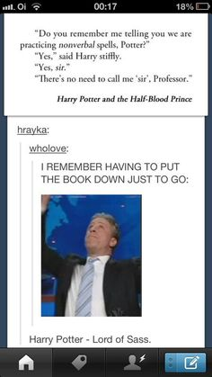 Book Harry had so much sass!
