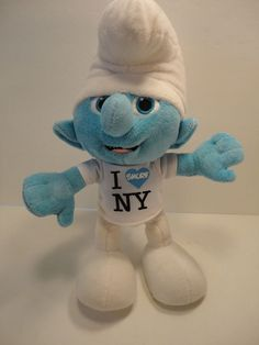 CLUMSY Smurf 10' talking soft stuffed plush in I love NY shirt PEYO 2011 tested