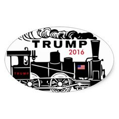 TRUMP TRAIN 2016 Glossy Bumper Sticker 50% off stickers USE CODE: ZAZSUMMERWED #trump #trumptrain #trumprally #votetr…