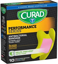 Curad Performance Series Knee and Elbow Extreme Hold Antibacterial Fabric Bandages - Amazon