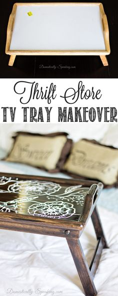 TV Tray Makeover... National Thrift Store Day Blog Hop - Domestically Speaking