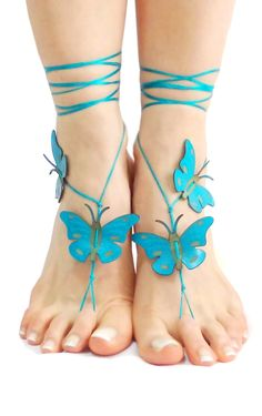 Hey, I found this really awesome Etsy listing at https://www.etsy.com/listing/226676431/turquoise-butterfly-barefoot-sandal-12