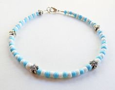 Beaded Ankle Bracelet Blue and White Anklet by DebsTurquoiseZebra, $10.00