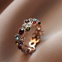 Chic Korean Style Colorful Shinning Rings