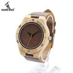 BOBO BIRD E14 Bamboo Watches for Men Handmade Wood Watch with Wood Grain Leather Watches 3Bar Water Resistant Waterproof Watch
