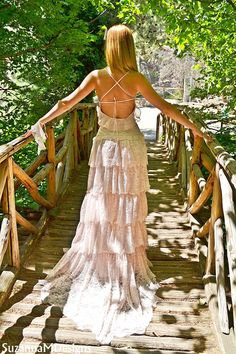 Pink Lacen Bohemian Wedding Dress / Bridal Wedding Gown / Handmade by SuzannaM Designs. $650.00, via Etsy.