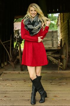 By Popular Vote Red Sweater Dress at reddressboutique.com