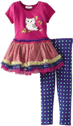 Bonnie Jean Little Girls' Owl Tutu Legging Set, Magenta, 5 - Click image twice for more info - See a larger selection of little girl skirt sets at http://girlsdressgallery.com/product-category/skirt-sets/ - girls,toddler,little girls clothing, little girls fashion, little girls dress, little girls fashion, baby, gift ideas