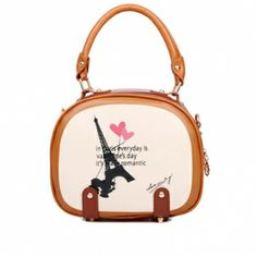 USD9.49Fashion Sweet Girls Zipper Design and Eiffel Tower Print Leather Clutches Bags