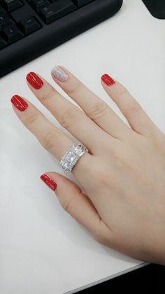 #nail#red#glitter#silver#gel#셀프네일#레드#실버#글리터