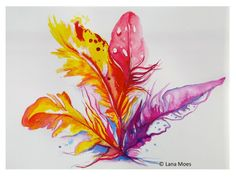 Original Abstract Birds Feathers Bouquet Watercolor Painting - Abstract Art by LanasArt.