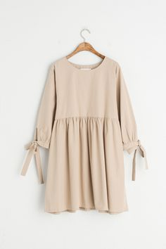 Ribbon Point Sleeve Baby Doll Dress, Beige