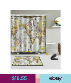 Chevron seafoam 245 in x 41 in 2 piece bathroom mat set shower curtains map of the world shower curtain bathroom mat set waterproof fabric 7279 gumiabroncs Images