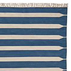Indigo Paddle Stripe Cotton Dhurrie   Serena & Lily, $195 for 3 x 5, $395 for 5 x 7