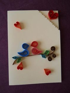 """Flirting birds & love hearts - quilling handmade greeting card, 4.1"""" x 5.75"""". ~$6.00 USD, via Etsy. (""""This card is completely handcrafted using the quilling technique./Paper quilling strips are hand-cut by me with a width of 5-6 mm."""")"""