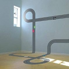 Design Dazzle: 50 Ideas For Car Themed Boys Rooms: My boys would love it! (Road stickers to drive on.)