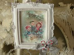Christmas ornament vintage children carolers Shabby Chic white and blue framed christmas ornament