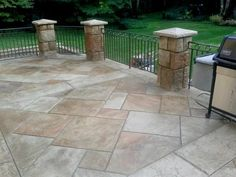 Similar to our patio . Want fence to keep children & puppies from falling off. Award Winning Stamped Concrete Patio Stamped Concrete The Concrete Artist Marlton, NJ Backyard Patio, Backyard Landscaping, Concrete Backyard, Patio Stairs, Patio Pond, Patio Railing, Cement Patio, Concrete Fence, Patio Bench