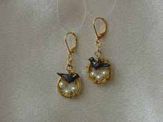 Gold Pewter and Pearl Birds Nest Earrings by MoreSimplicity, $12.50