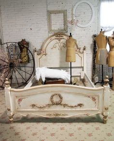 Painted Cottage Shabby Tea Stained Rose Romance Bed. $1,095.00, via Etsy.