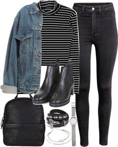 Outfit for uni with a denim jacket by ferned featuring a high neck top High neck top, 23 AUD / Levi s vintage jacket, 51 AUD / High waisted jegging, 26 AUD / Topshop chelsea ankle boots, 190 AUD / Witchery mesh jewelry / Michael Kors hinged bracelet,...