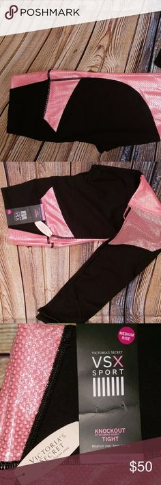 Victoria's Secret Knockout Tights Regular Length The best gets better: nylon performance fabric with 4-way stretch meets a new waistband that slims and stays in place for total comfort,  Black and with pink shiny/reflective design.  MED rise with second-skin fit and lined, reinforced gusset Smooth seams reengineered with softer thread for total comfort Waistband with mesh lining slims & stays in place throughout workout Body-Wick keeps you cool & dry Victoria's Secret Pants Leggings