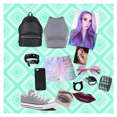 """""""First day at a new school!!"""" by liviahopper-1 on Polyvore featuring Cotton Candy, Converse, Yves Saint Laurent, claire's and BaubleBar"""