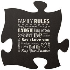 Family Rule Quote Puzzle Piece
