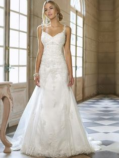 A-line Straps Tulle Satin Sweep Train White Appliques Wedding Dresses at Millybridal.com