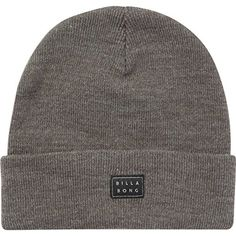 Billabong Men's Disaster Beanie: Premium skull fit beanie with fold up cuff design and woven label at front. Men's Beanies, Surf Companies, Grey Beanie, Billabong, Fashion Brands, Knitting Patterns, Topshop, Hats, Collection