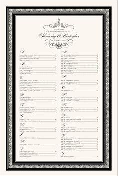 Flourish Monogram Wedding Seating Chart-Custom Monogram Seating Charts-Wedding Reception Seating Charts-Wedding Guest Seating Scroll-Wedding Reception Guest Seating Assignments