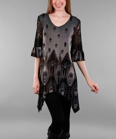 Another great find on #zulily! Gray & Black Abstract Sidetail Tunic - Plus #zulilyfinds