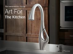 Indira is art for the kitchen. A statuesque neck, elegant curves, and a distinctly artful silhouette make the Indira faucet a unique kitchen statement like no other.