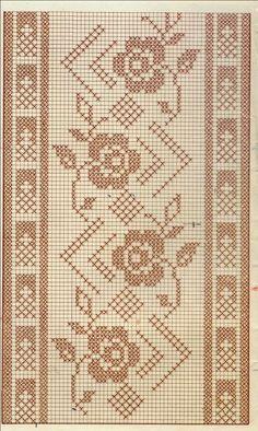 57 Ideas Knitting Lace Border Cross Stitch For 2019 Cross Stitch Borders, Cross Stitch Designs, Cross Stitching, Cross Stitch Embroidery, Cross Stitch Patterns, Filet Crochet Charts, Crochet Stitches Patterns, Doily Patterns, Embroidery Patterns