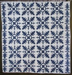 ANTIQUE c1860 Applique Oak Leaf Indigo BLUE & White QUILT Civil War Era, eBay, vintageblessings