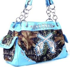 shoulder bags: Western Crossed Guns Purse Camouflage Handbag Camo Blue Trim W Matching Wallet Bling Purses, Cute Purses, Bling Bling, Muddy Girl Camo, The Maxx, Camo Purse, Fox Purse, Camo Fashion, Women's Fashion