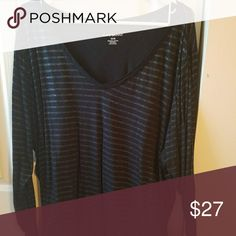 Black long sleeve shirt with thin sparkly stripes. Hardly worn, comfortable material could be casual or dressy Lane Bryant Tops Tees - Long Sleeve