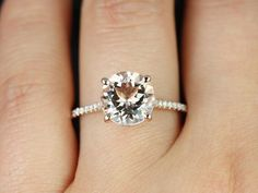 Eloise 9mm Size 14kt Rose Gold Round Morganite and Diamonds Cathedral Engagement Ring (Other metals and stone options available)