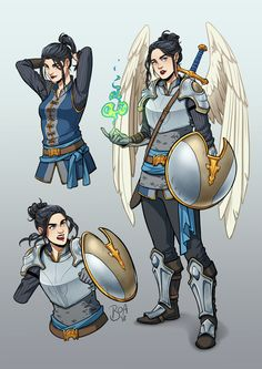"""""""[commission] character sheet for an aasimar Divine Soul sorceress with just a hint of warlock"""" Vector Character, Character Design Cartoon, Fantasy Character Design, Character Portraits, Character Creation, Character Concept, Character Art, Character Sheet, Concept Art"""