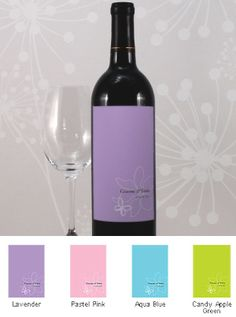 Butterfly Dreams Wine Bottle Labels (Set of 8 - 4 Colors) from Wedding Favors Unlimited