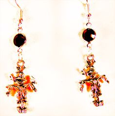SCARECROW EARRINGS, scarecrow jewelry, Halloween earrings, Halloween jewelry, Swarovski crystal, red crystal, scarecrow charm, charm by EarringsBraceletsEtc on Etsy