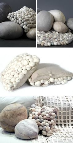 Felted rock look for a couch pillow. Idea: Glue real rocks on netting in the shape of a pillow for whimsy look on rock bench.