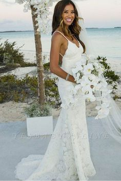 Fitted Prom Dress, Sheath Mermaid Long Spaghetti Straps Lace Simple Beach Wedding Dresses, Looking for that Perfect Prom Dress? Want to look amazing at the dance? Backless Mermaid Wedding Dresses, Spaghetti Strap Wedding Dress, Lace Beach Wedding Dress, Wedding Dresses With Straps, Wedding Dress Train, Backless Wedding, Mermaid Dresses, Bridesmaid Dresses, Spaghetti Straps