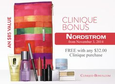 It's here! http://clinique-bonus.com/nordstrom/ Free 8-pc gift with 32 purchase + 3 free samples + free shipping. At Nordstrom.