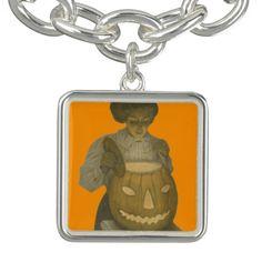 Woman Jack O Lantern Pumpkin Charm Bracelet