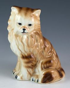 Vintage Bone China Long Haired Fluffy Brown Striped Cat Figurine Gloss Finish.